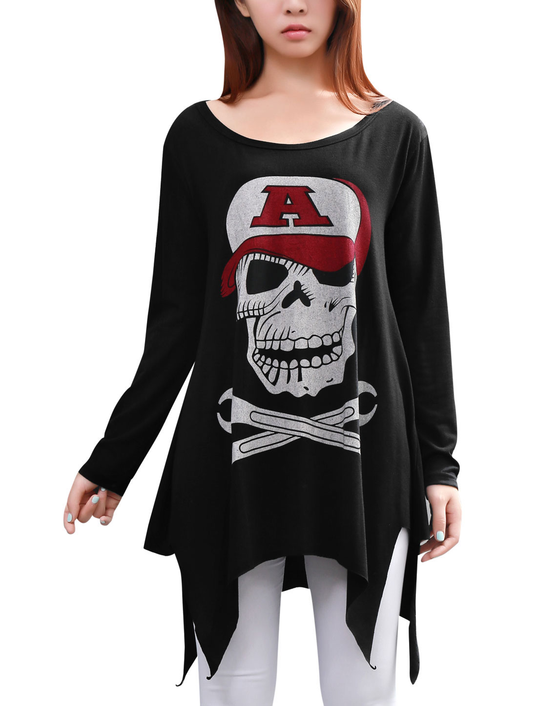 Women Newly Round Neck Long Sleeve Skull Pattern Black Loose Top Shirt XL