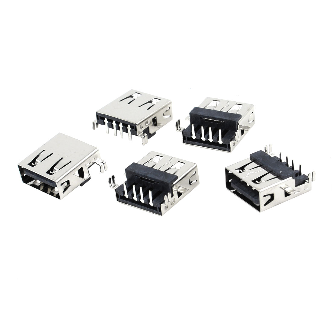 5 Pcs Single USB 2.0 Type A 90 Degree 4-Pin DIP Female Jack Socket