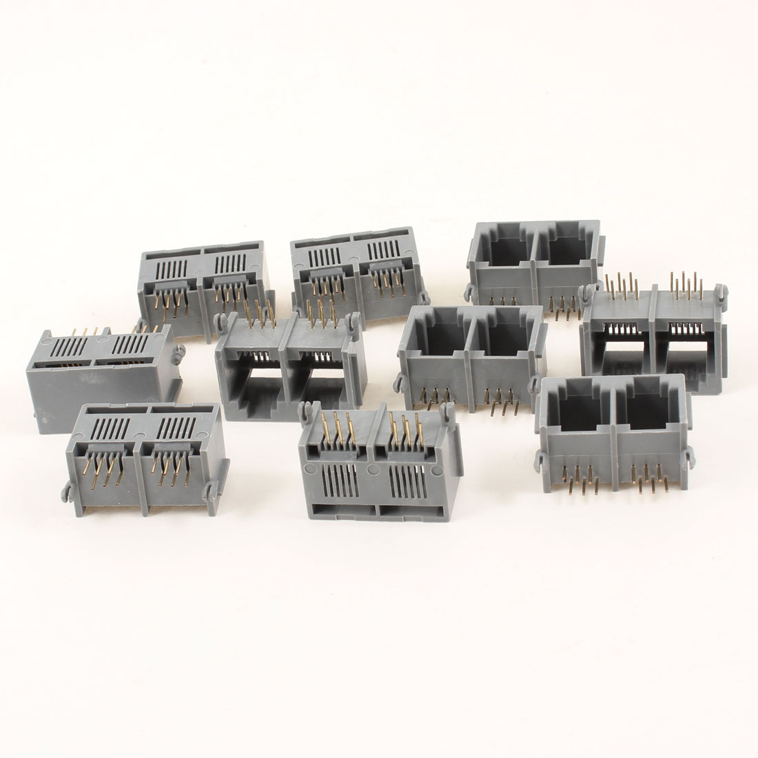 10 Pcs Gray Unshielded Dual Ports RJ12 6P6C Network Modular PCB Jacks Connector