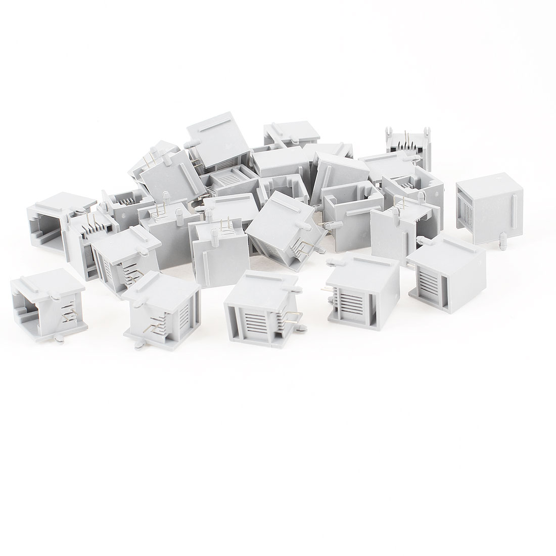 30 Pcs Gray Plastic Unshielded RJ11 6P2C Network Modular PCB Connector Jacks