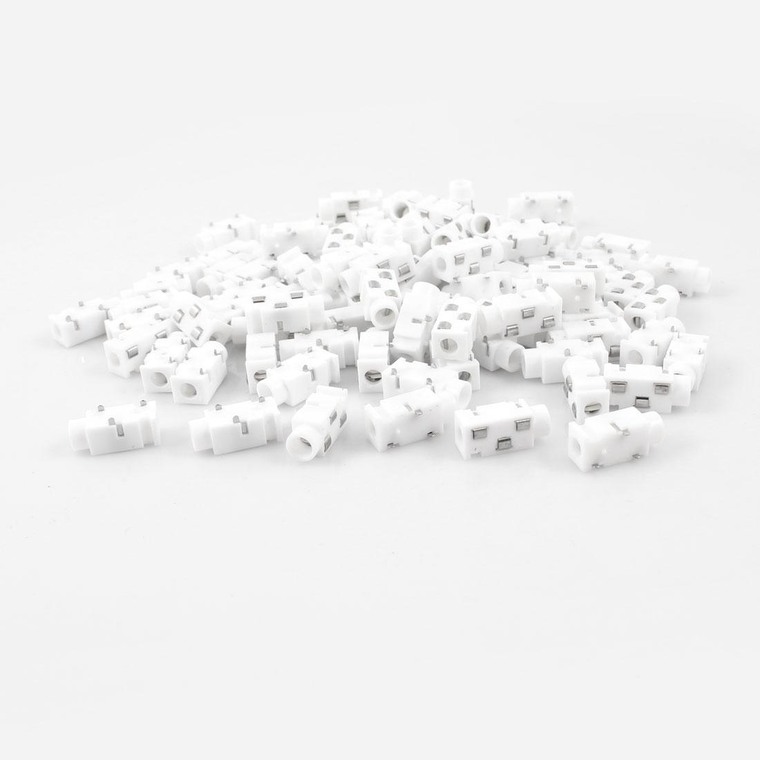100 Pcs 3-Terminal 3.5mm Female Headphone Stereo Audio Socket Adapter White