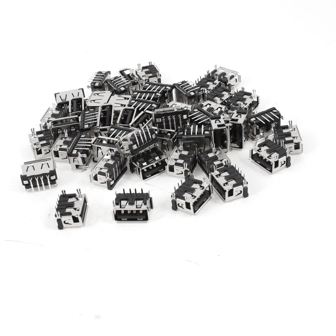 50 Pcs Single USB 2.0 Type A 90 Degree 4-Pin DIP Female Jack Socket