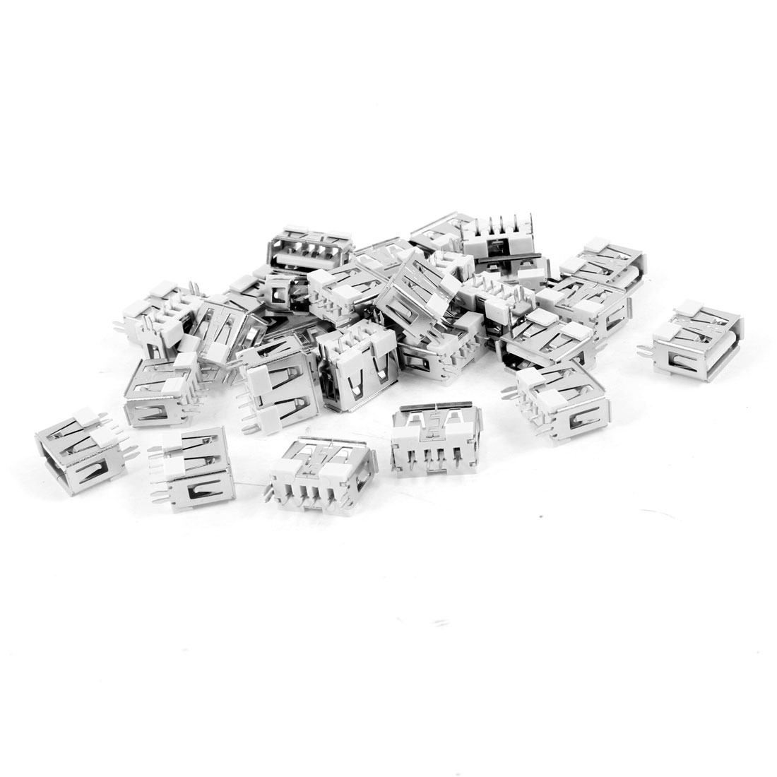 30 Pcs Single USB 2.0 Type A 180 Degree 4-Pin DIP Female Jack Socket