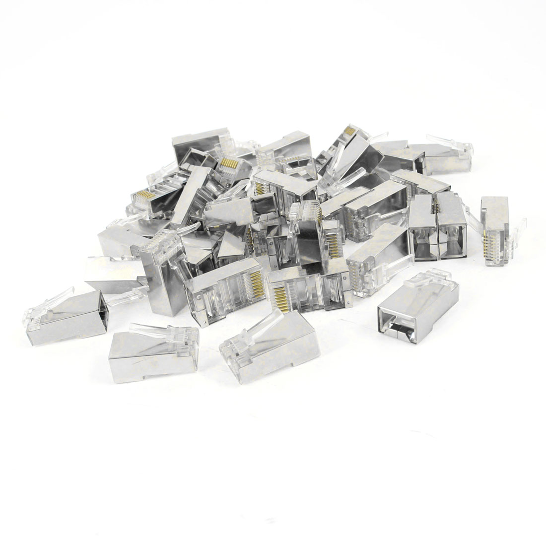 45 Pcs Metal Shielded 8P8C RJ45 Modular Plug End Network Connectors