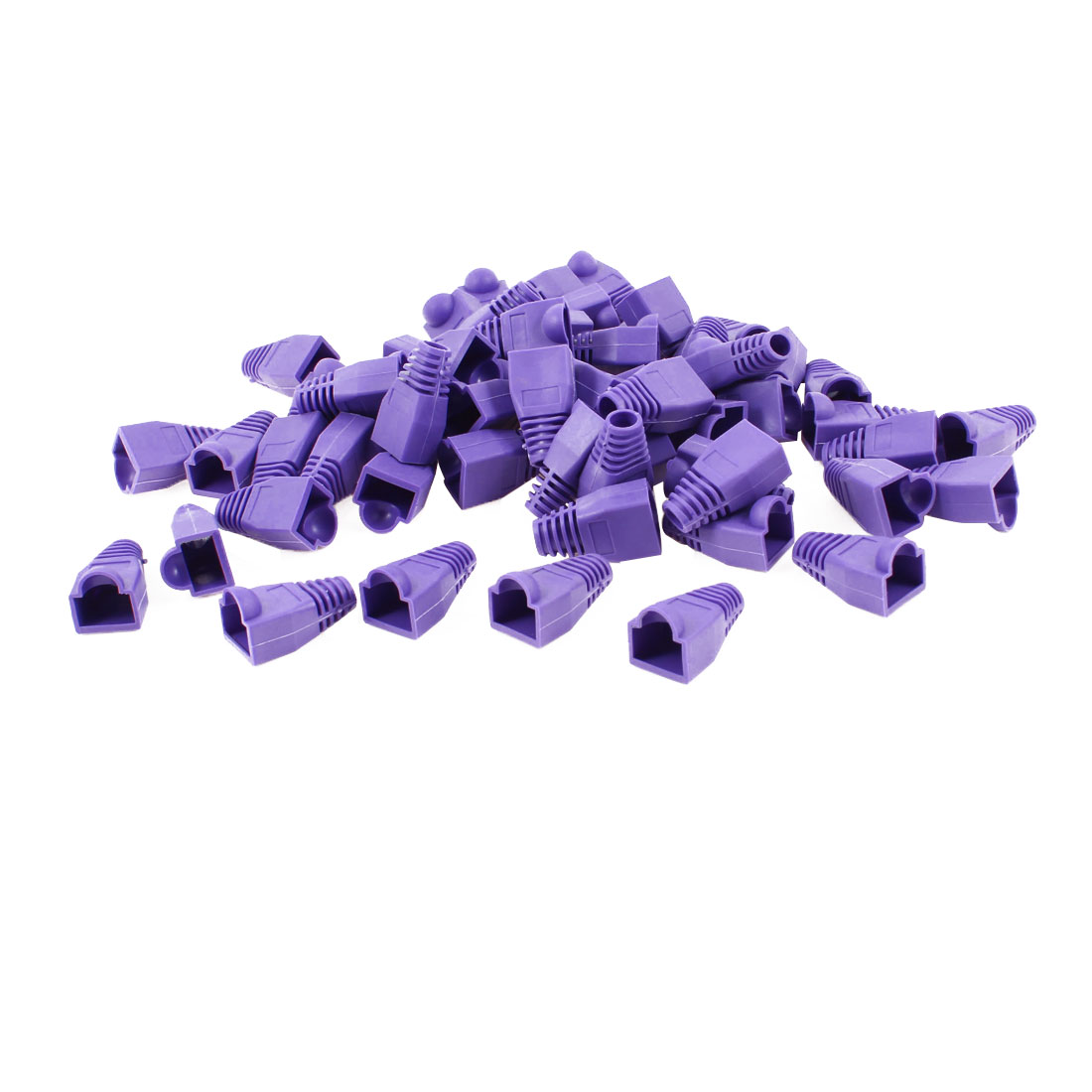 60 Pcs Purple Soft Plastic Hood Cover Boots for RJ45 Connector