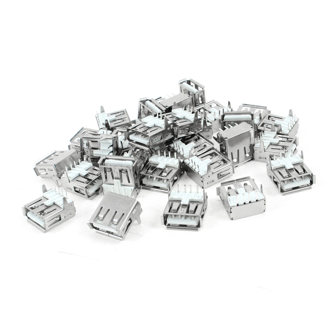 30 Pcs Shielded USB 2.0 Type A 90 Degree 4-Pin DIP Female Jack Socket