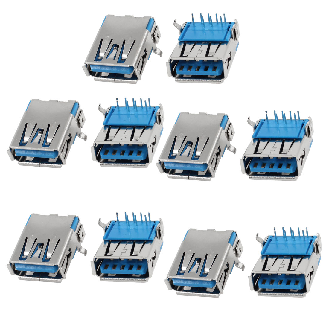 10 Pcs USB 3.0 Type A Female Right Angle 9-Pin DIP Jack Socket