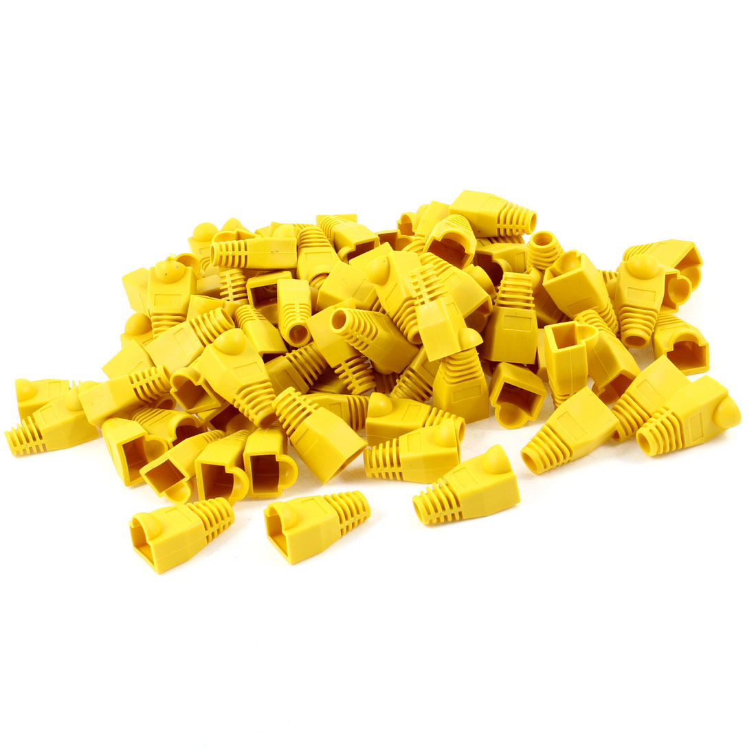 100 Pcs Yellow Soft Plastic Cover Boots Cap for RJ45 Connector