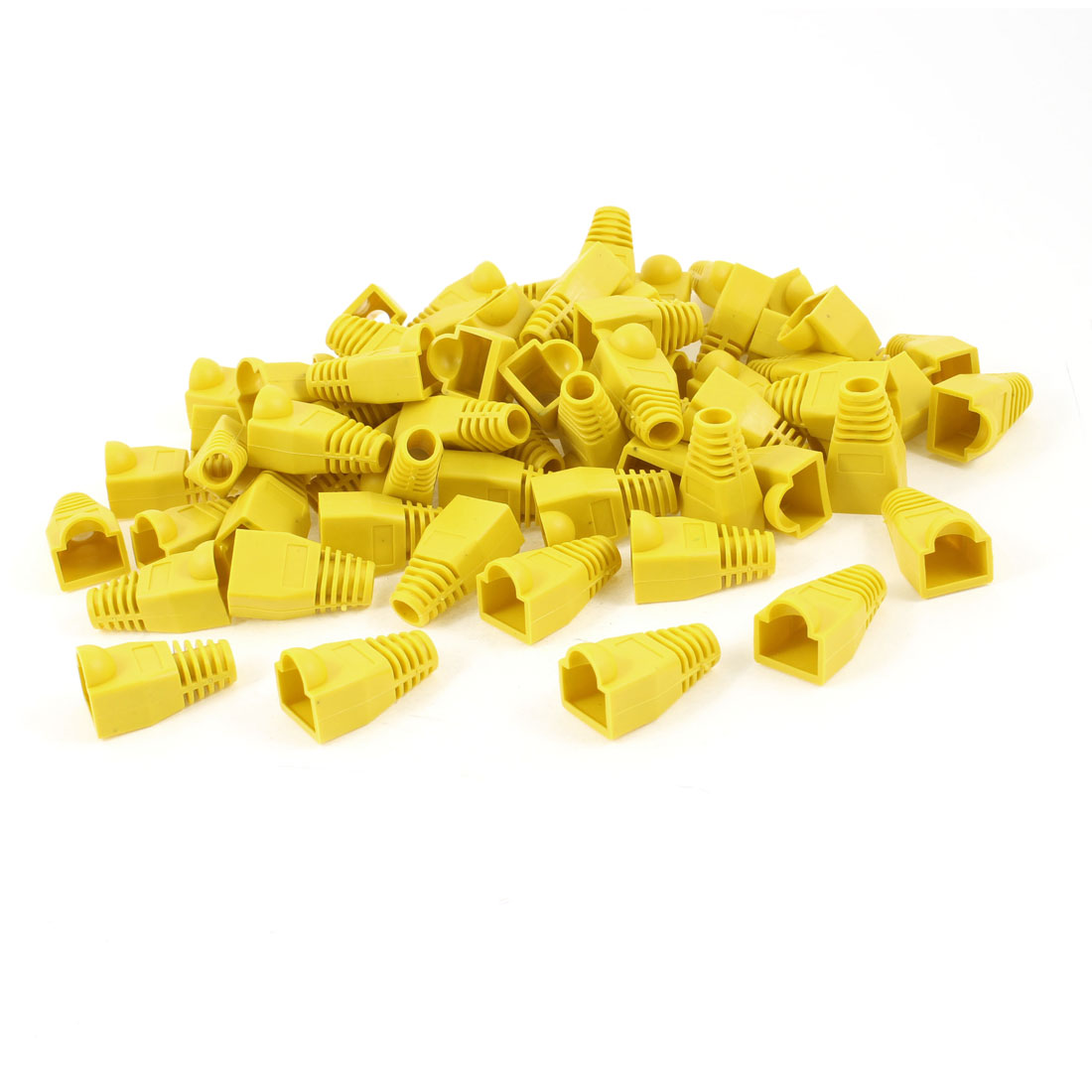 50 Pcs Yellow Soft Plastic Hood Cover Boots for RJ45 Connector