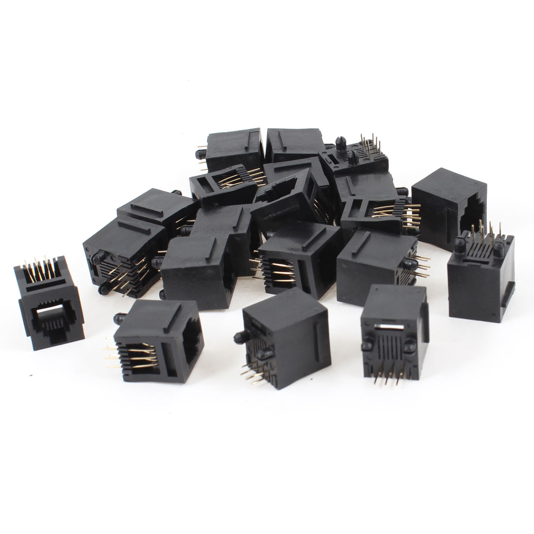 20 Pcs Black Plastic 180 Degree RJ12 6P6C Network Modular PCB Connector Jacks