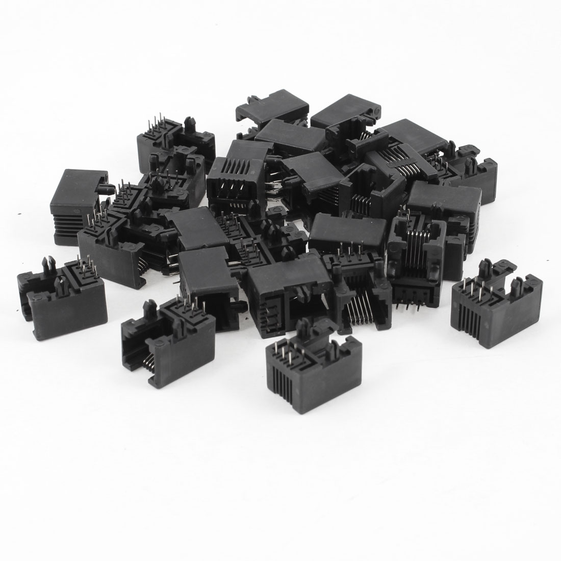 30 Pcs 90 Degree 6 Round Pin RJ12 6P6C Network Modular PCB Connector Jacks Black