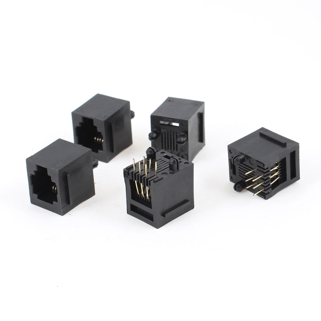 5 Pcs 180 Degree RJ12 6P6C 6 Round Pin Network Modular PCB Connector Jacks Black