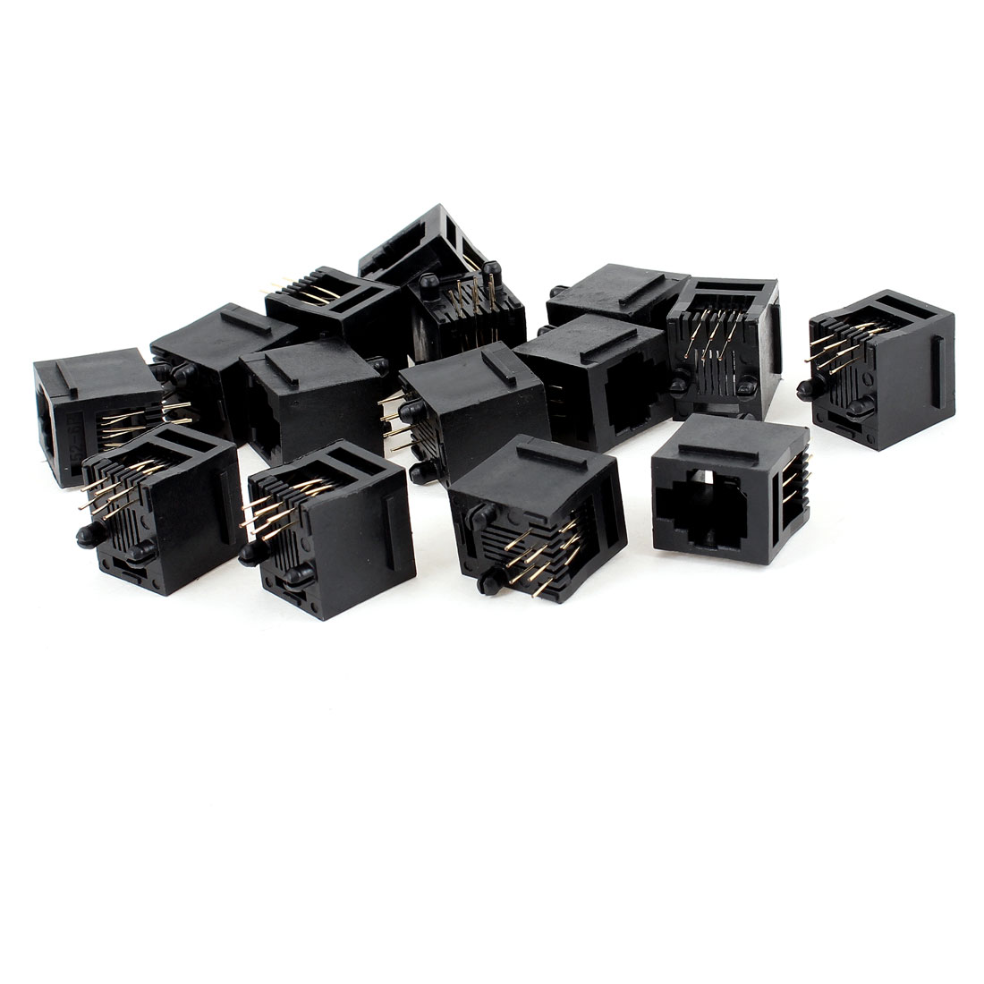 15 Pcs Black Plastic 180 Degree RJ12 6P6C Network Modular PCB Connector Jacks