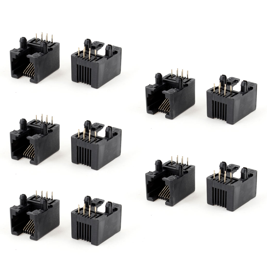 10 Pcs 90 Degree 6 Round Pin RJ12 6P6C Network Modular PCB Connector Jacks Black