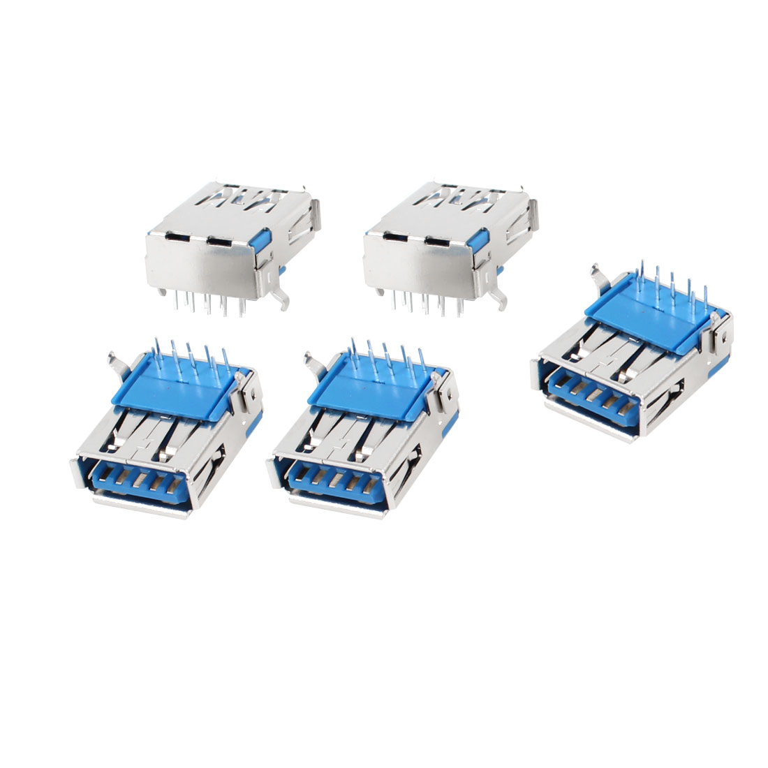 5 Pcs Single USB 3.0 Type A Female Right Angle 9-Pin DIP Jack Socket