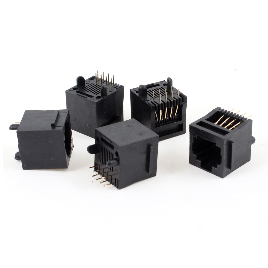 5 Pcs Unshielded RJ45 8P8C 8 Round Pin Network Modular PCB Connector Jacks Black