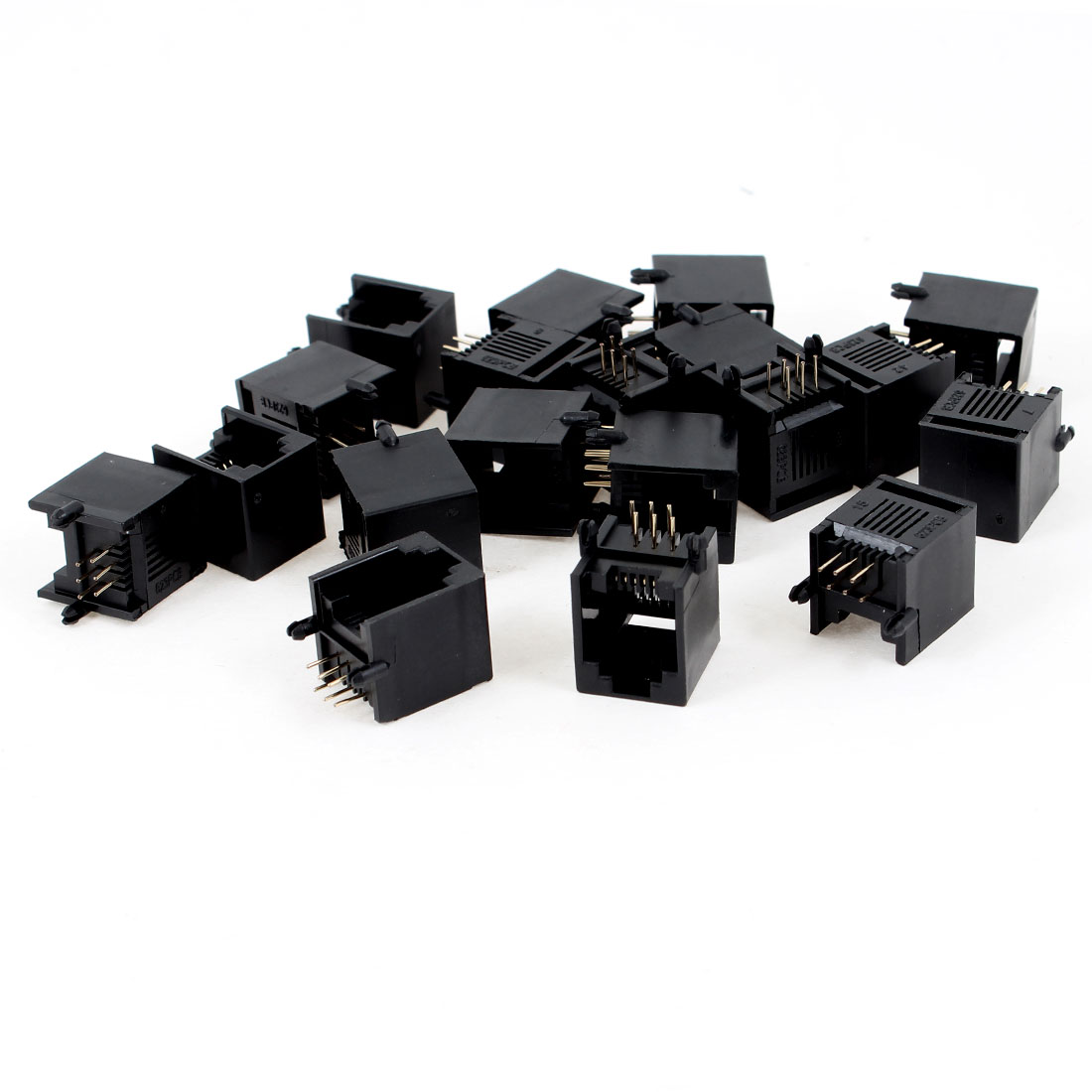 19 Pcs Black Plastic Unshielded RJ12 6P6C Network Modular PCB Connector Jacks
