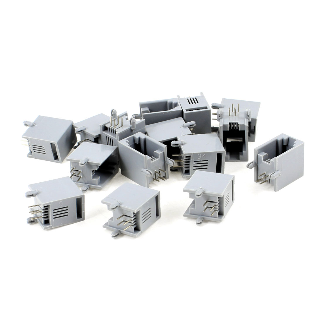 15 Pcs Gray Plastic Unshielded RJ9 4P4C Network Modular PCB Connector Jacks