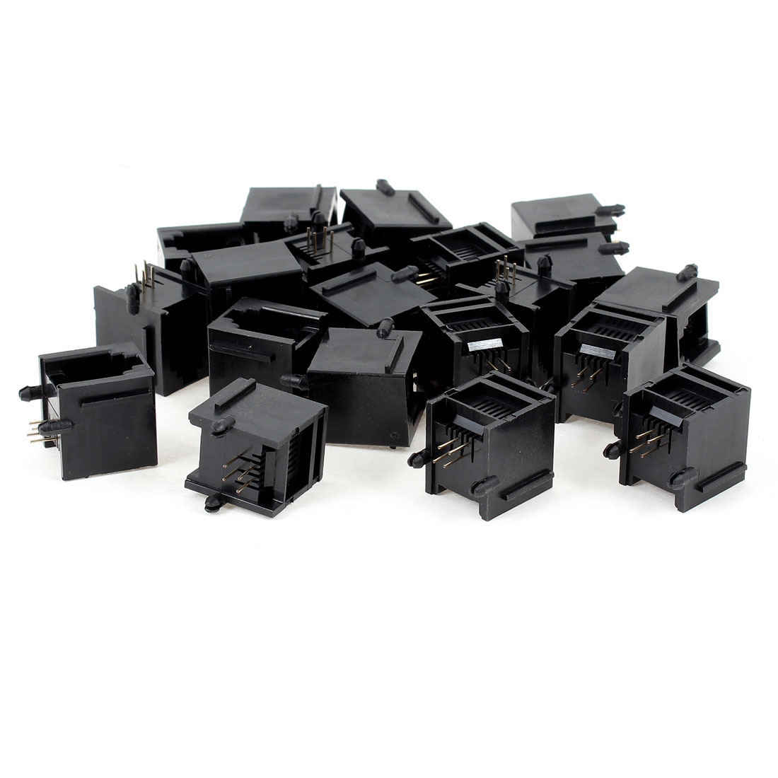 20 Pcs Black Plastic Unshielded RJ11 6P4C Network Modular PCB Connector Jacks