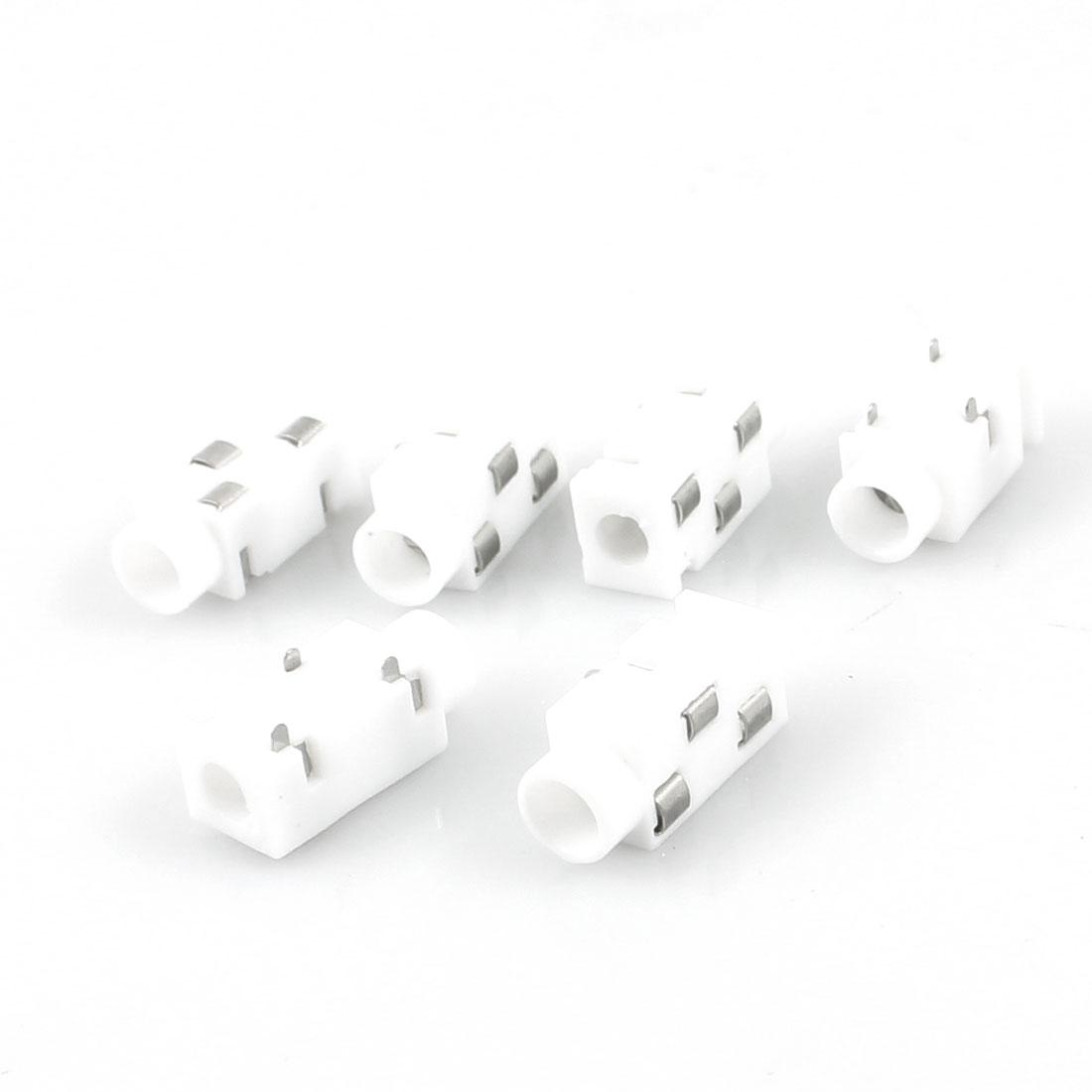 6 Pcs 3-Terminal 3.5mm Headphone Stereo Jack PCB Panel Mount Socket White