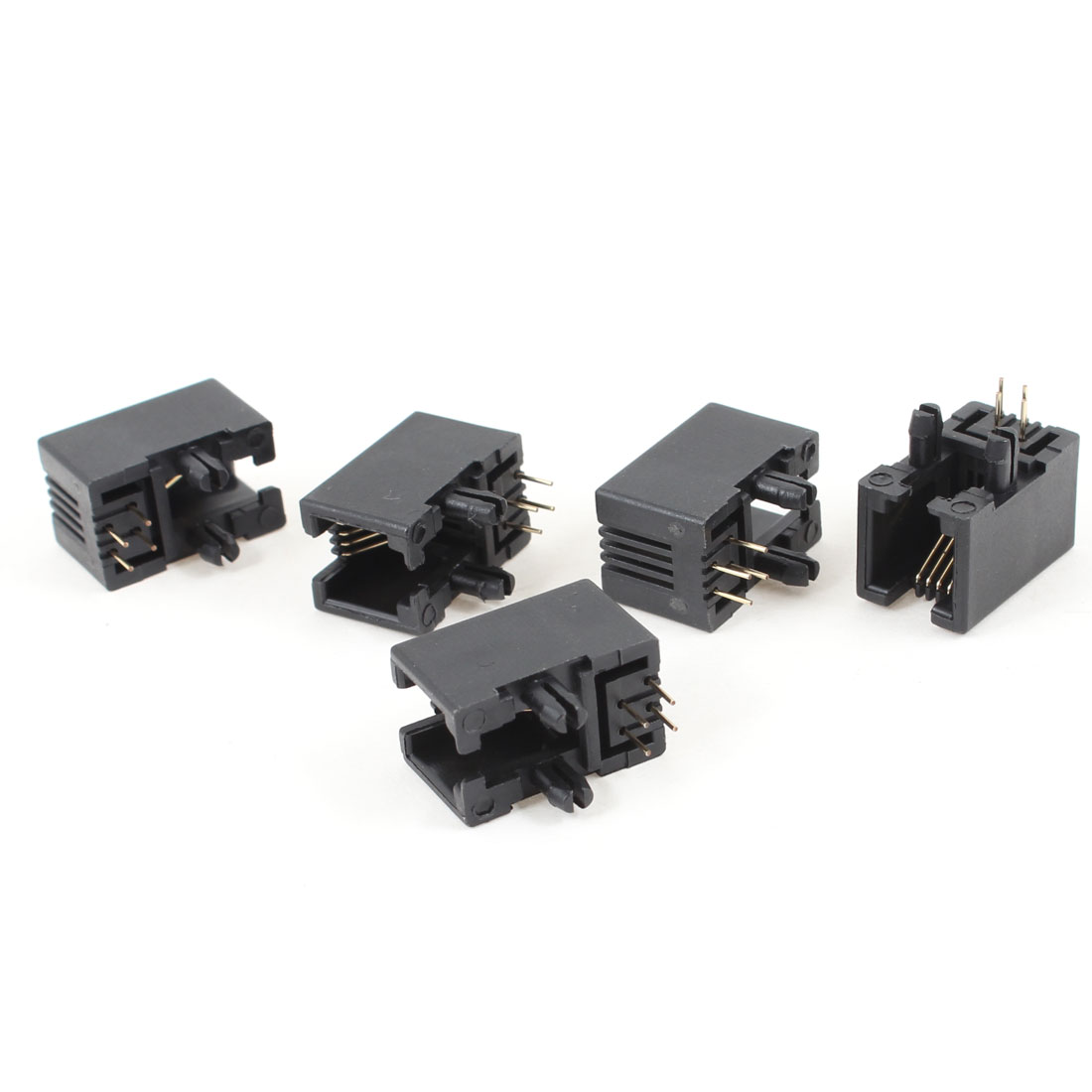 5 Pcs Black Plastic Unshielded RJ9 4P4C Network Modular PCB Connector Jacks