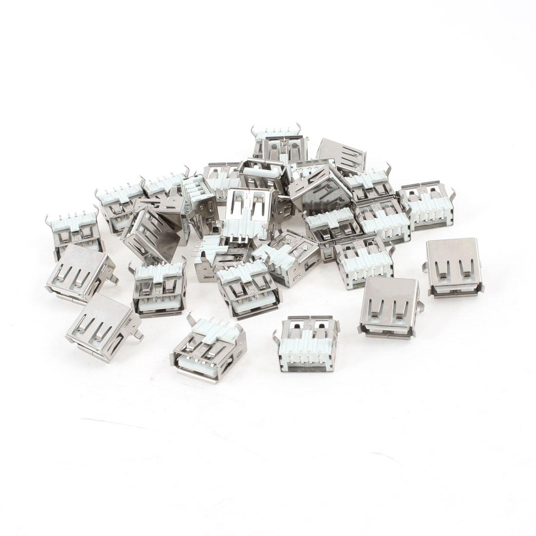 30 Pcs Single USB Type A Right Angle 4-Pin SMD Female Jack Socket