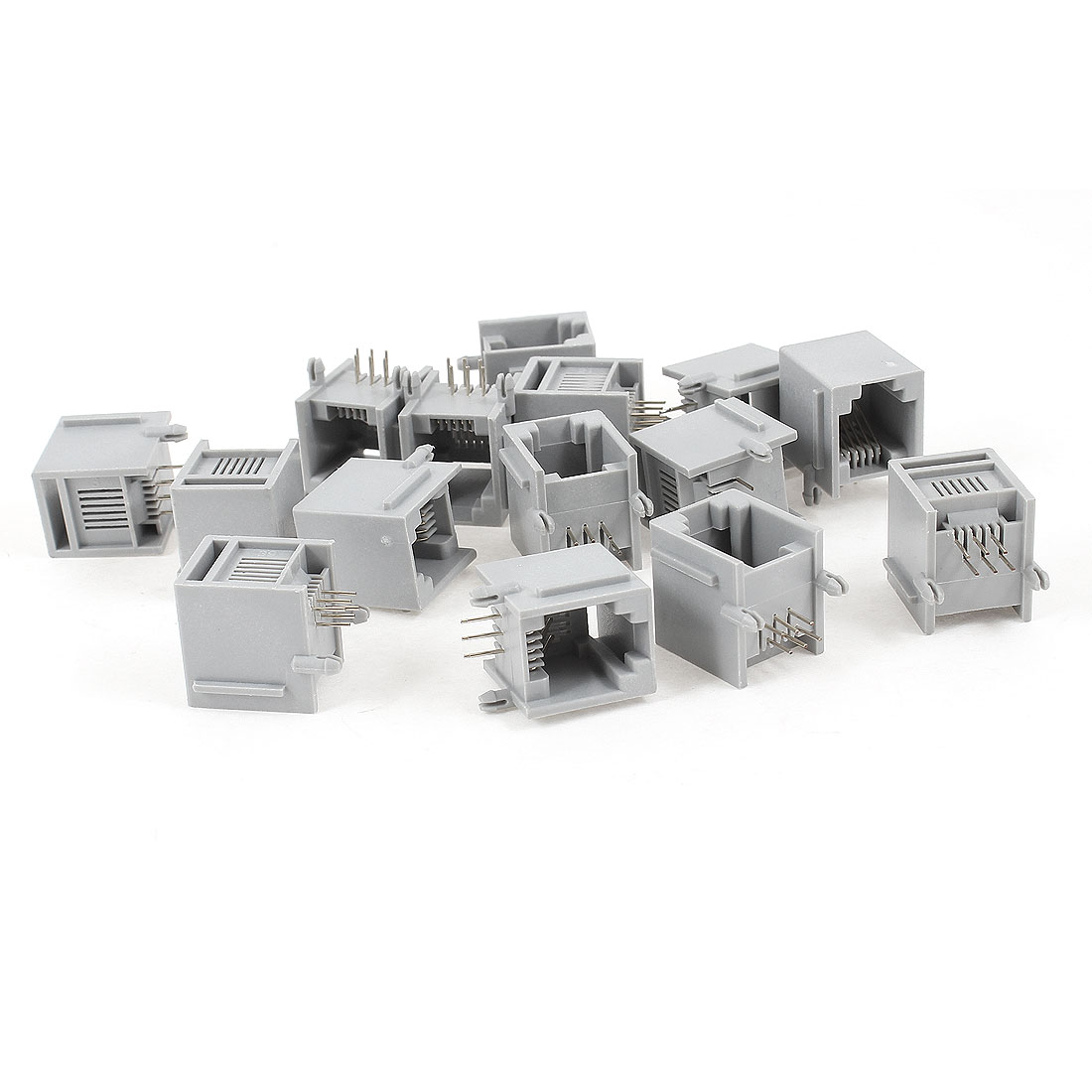 15 Pcs Gray Plastic RJ12 6P6C 6 Round Pin Network Modular PCB Connector Jacks