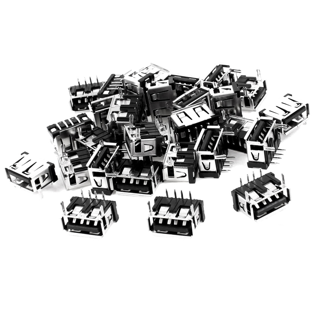 30 Pcs Single USB Type A 90 Degree 4-Pin DIP Female Jack Connector