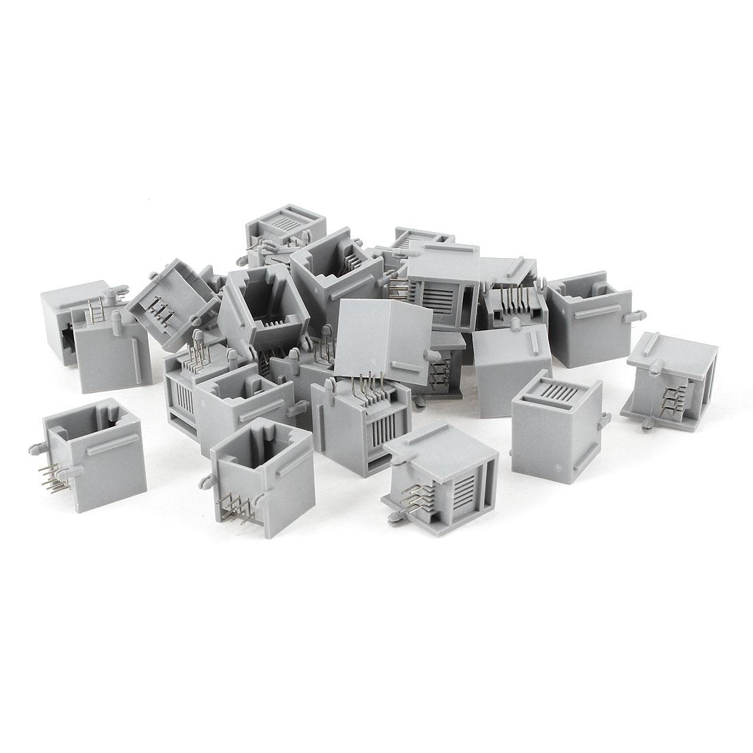 30 Pcs Gray Plastic RJ12 6P6C 6 Round Pin Network Modular PCB Connector Jacks