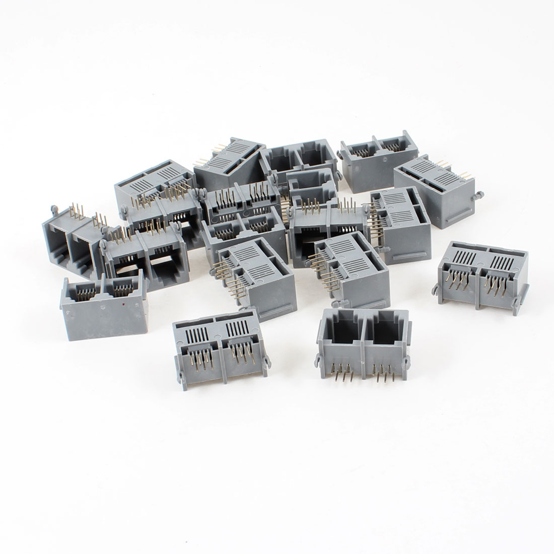 19 Pcs Gray Unshielded Dual Ports RJ12 6P6C Network Modular PCB Jacks Connector