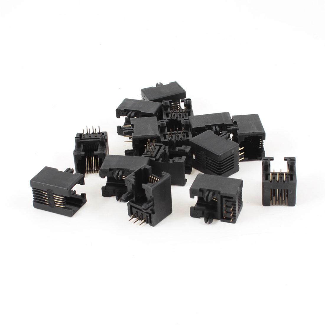 15 Pcs 90 Degree 6 Round Pin RJ12 6P6C Network Modular PCB Connector Jacks Black