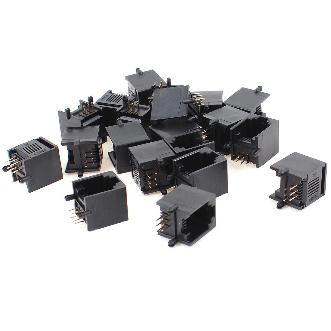 20 Pcs Black Plastic Unshielded RJ12 6P6C Network Modular PCB Connector Jacks