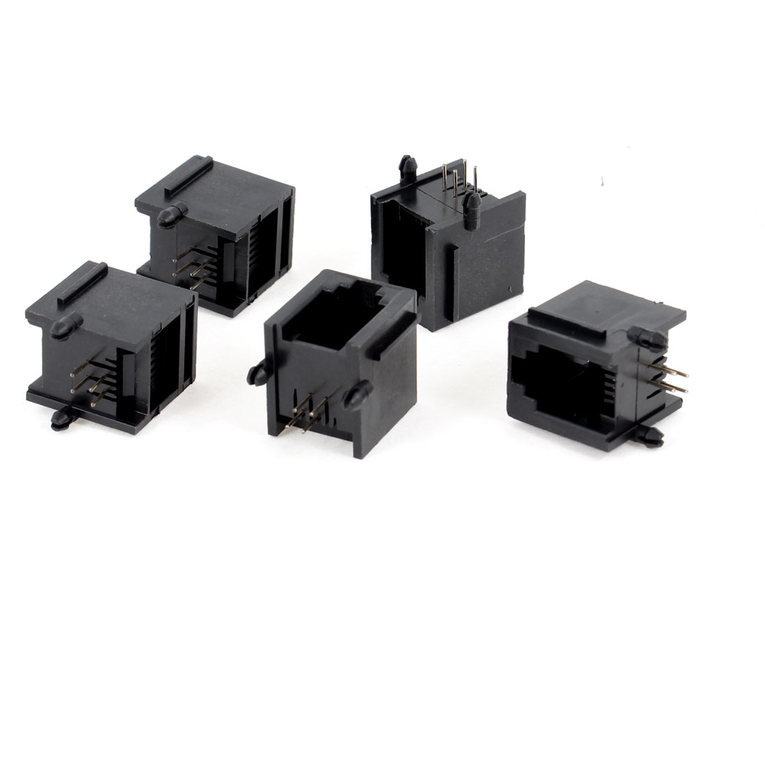 5 Pcs Black Plastic Unshielded RJ11 6P4C Network Modular PCB Connector Jacks