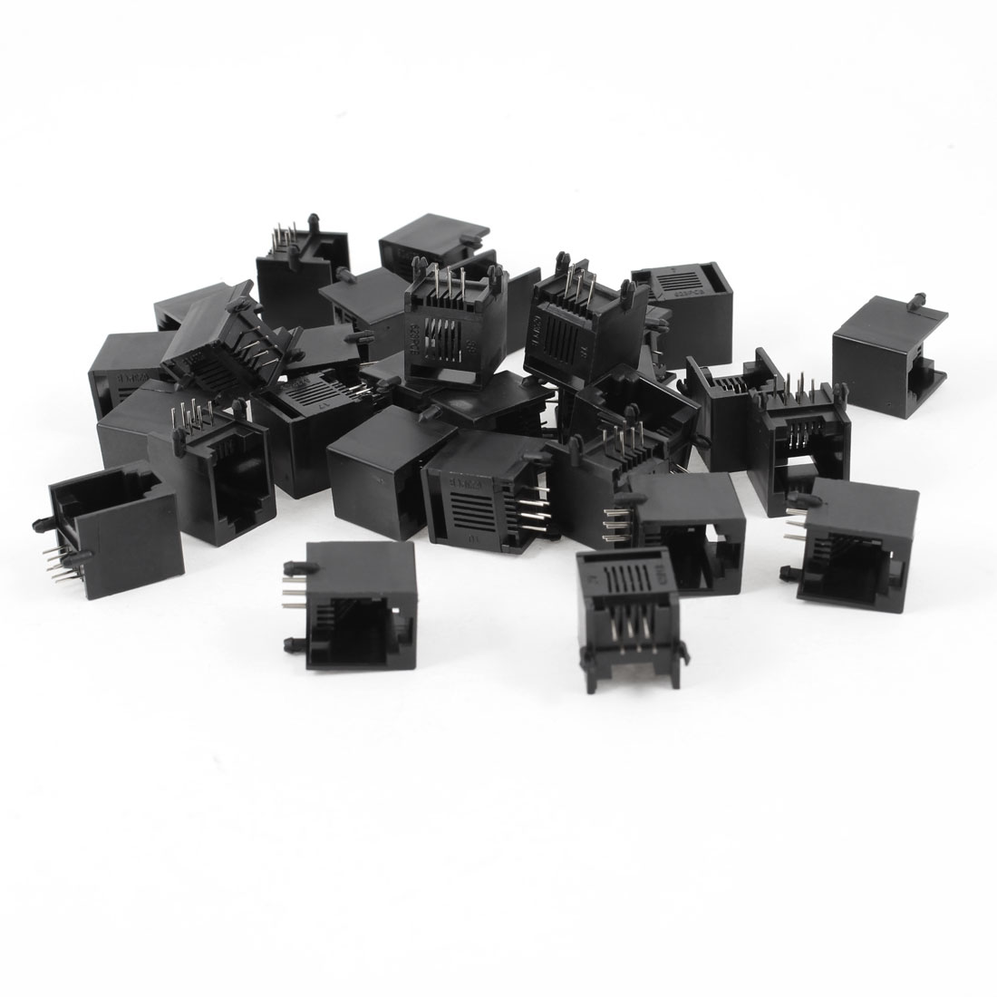 30 Pcs Black Plastic Unshielded RJ12 6P6C Network Modular PCB Connector Jacks