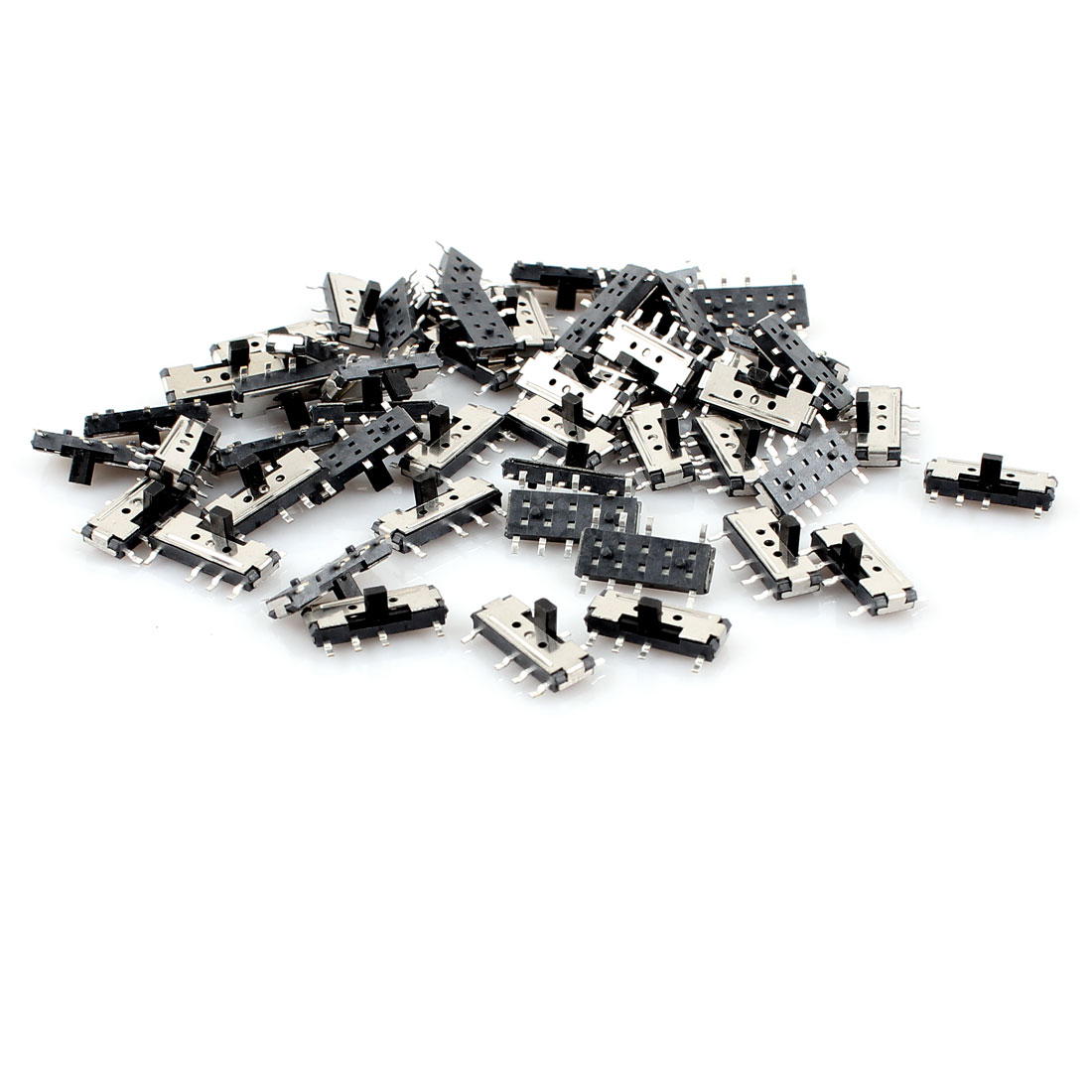 50 Pcs On/Off/On 3-Position 8 Pin DPDT 2P2T Vertical Mini SMD SMT Slide Switch