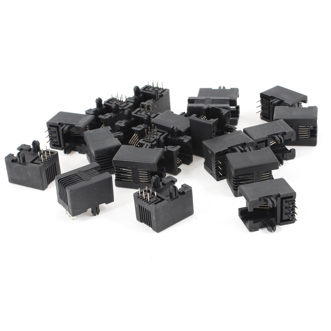 20 Pcs 90 Degree 6 Round Pin RJ12 6P6C Network Modular PCB Connector Jacks Black