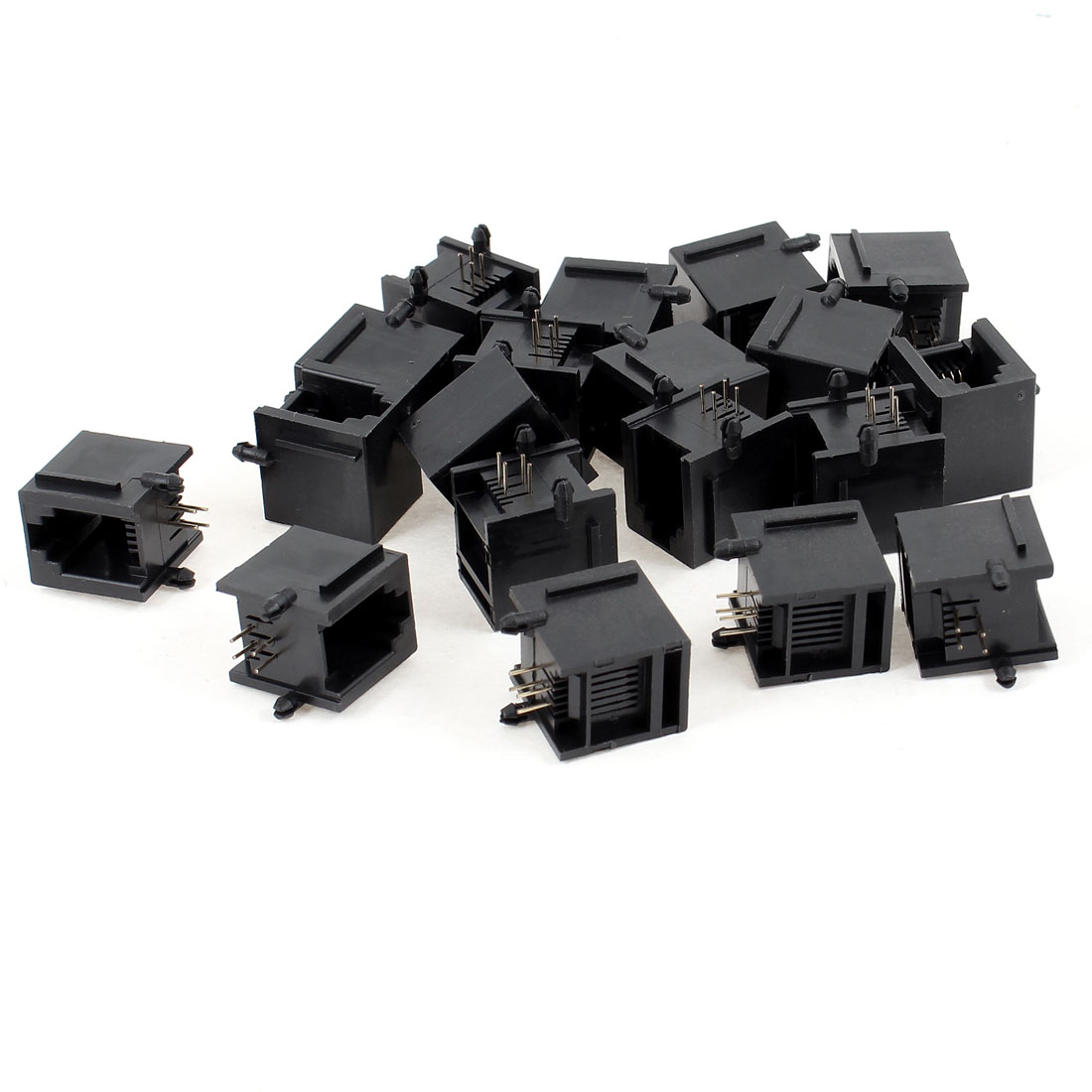 19 Pcs Black Plastic Unshielded RJ11 6P4C Network Modular PCB Connector Jacks