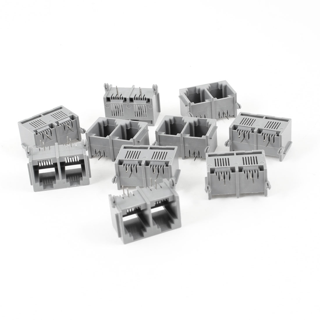 10 Pcs Unshielded 2-Port RJ11 6P2C Network Modular PCB Connector Jacks Gray