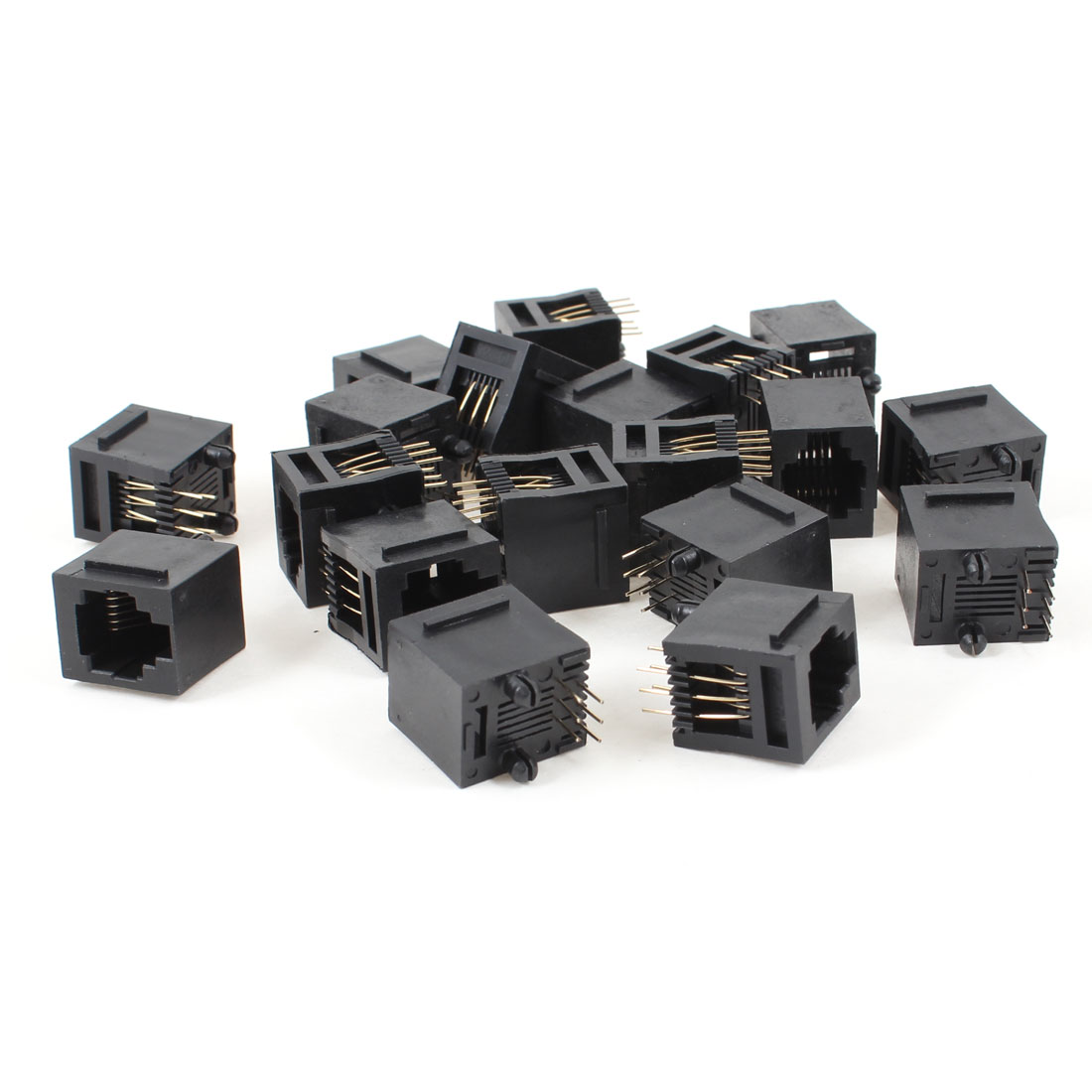 19 Pcs Black Plastic 180 Degree RJ12 6P6C Network Modular PCB Connector Jacks