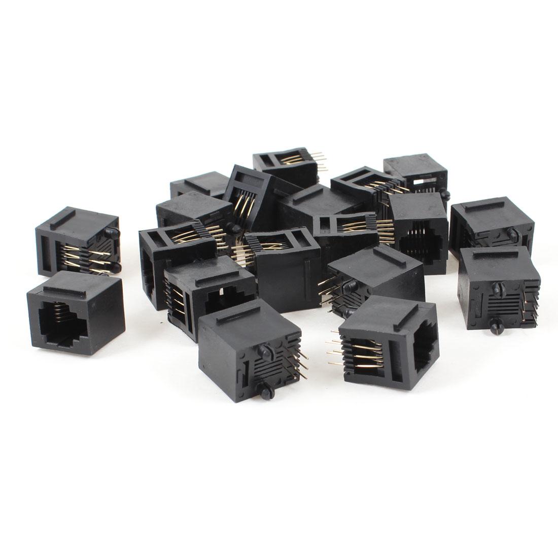 19 Pcs Black Plastic 180 Degree RJ12 6P6C Network Modular PCB Connector Jacks
