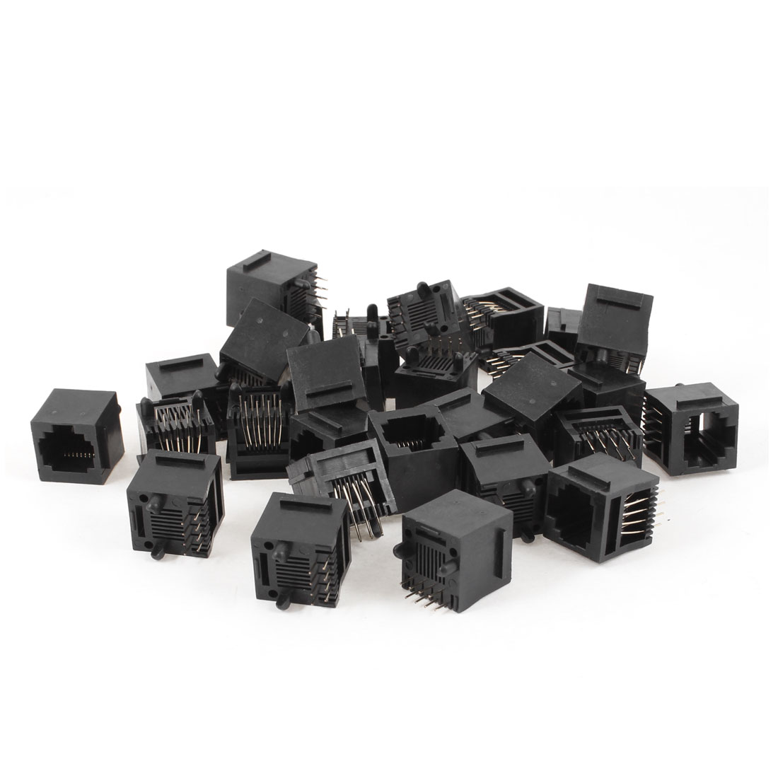 30 Pcs Unshielded RJ45 8P8C Network Modular PCB Connector Jacks Black