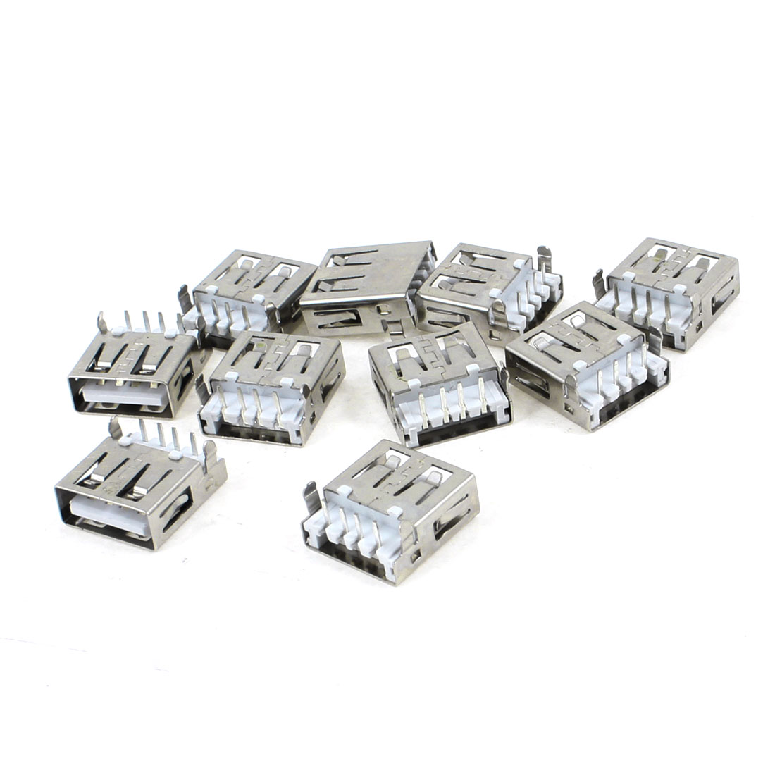 10 Pcs Single USB 2.0 Type A Right Angle 4-Pin DIP Female Jack Socket