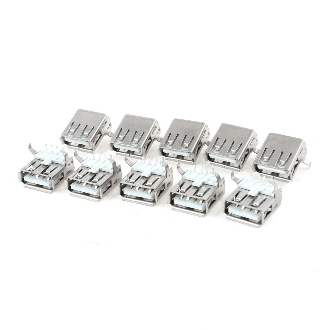 10 Pcs PCB Mount USB Type A Right Angle 4-Pin DIP Female Jack Socket