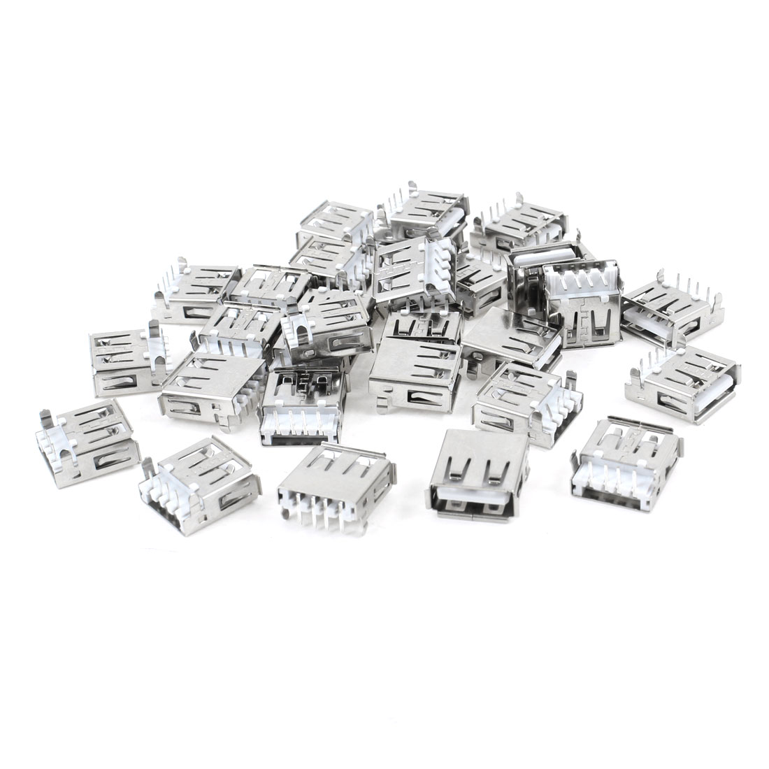 30 Pcs Shielded USB 2.0 Type A Right Angle 4-Pin DIP Female Jack Socket