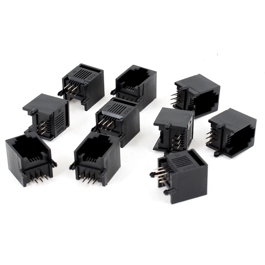 10 Pcs Black Plastic Unshielded RJ12 6P6C Network Modular PCB Connector Jacks