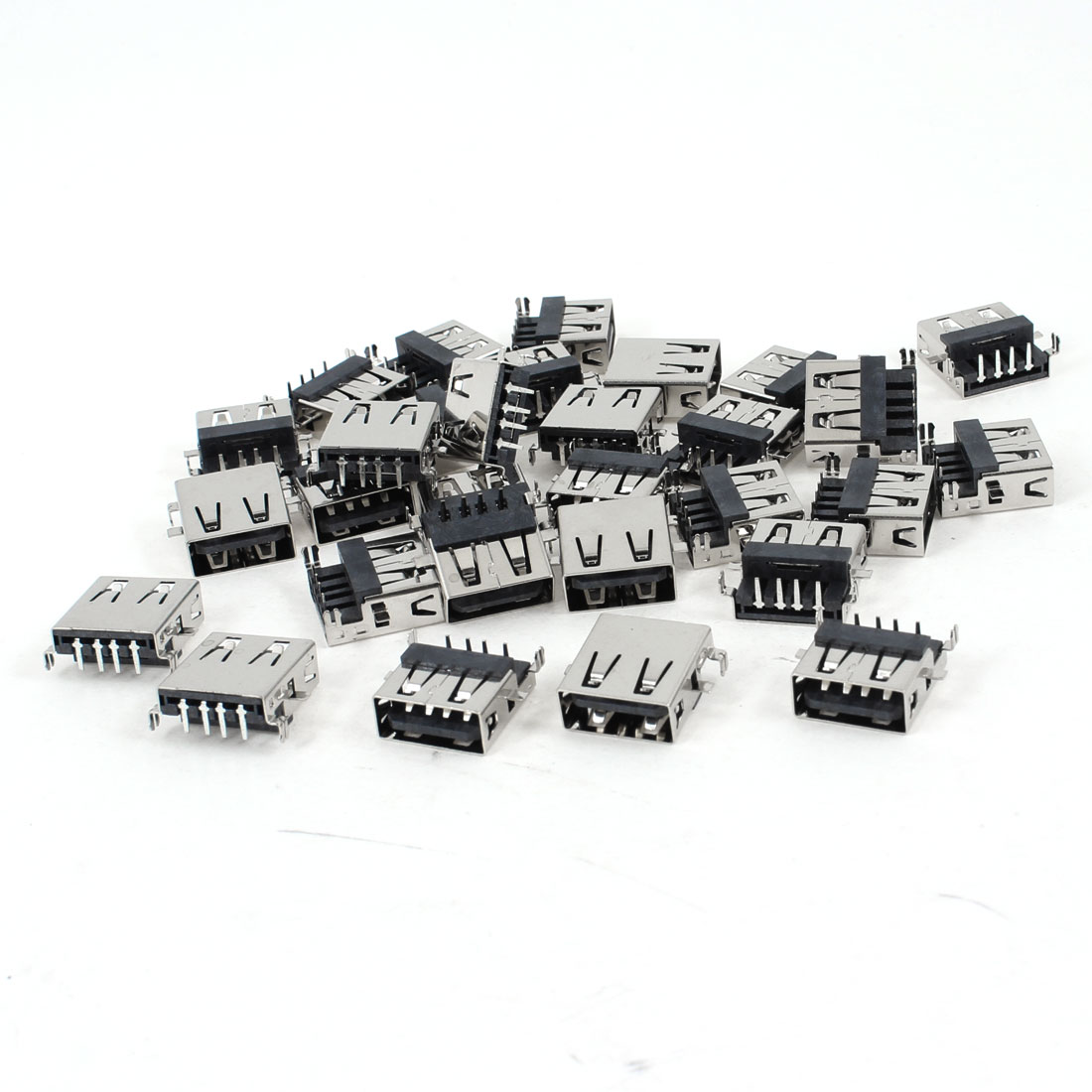 30 Pcs Single USB 2.0 Type A 90 Degree 4-Pin DIP Female Jack Socket
