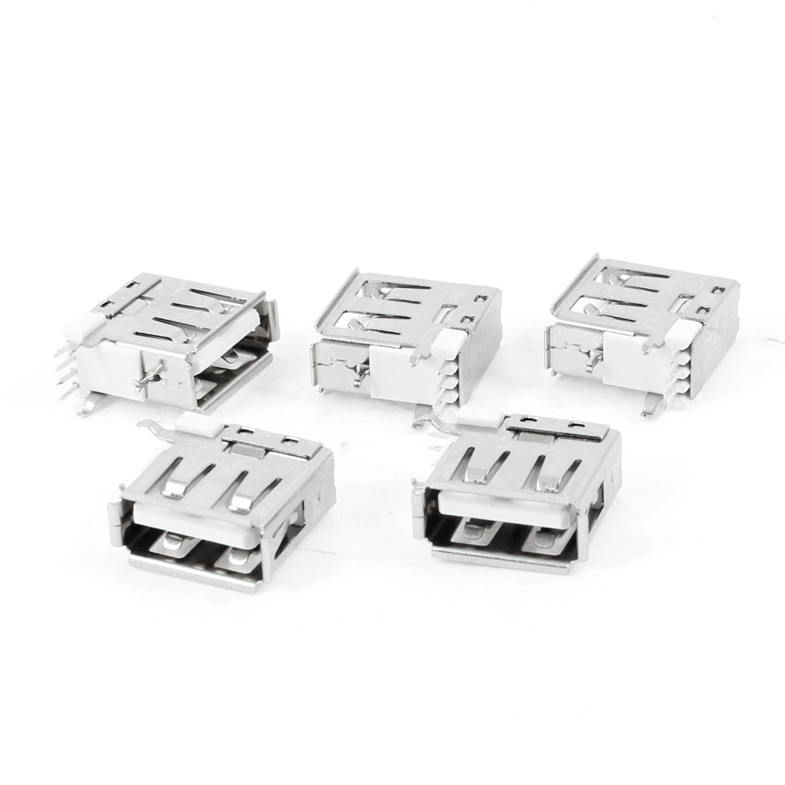 5 Pcs USB Type A Female Side Insert DIP 90 Degree 4-Pin Jack Socket