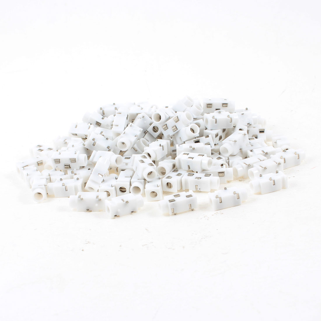 150 Pcs 3-Terminal 3.5mm Female Headphone Stereo Socket Jack Adapter White