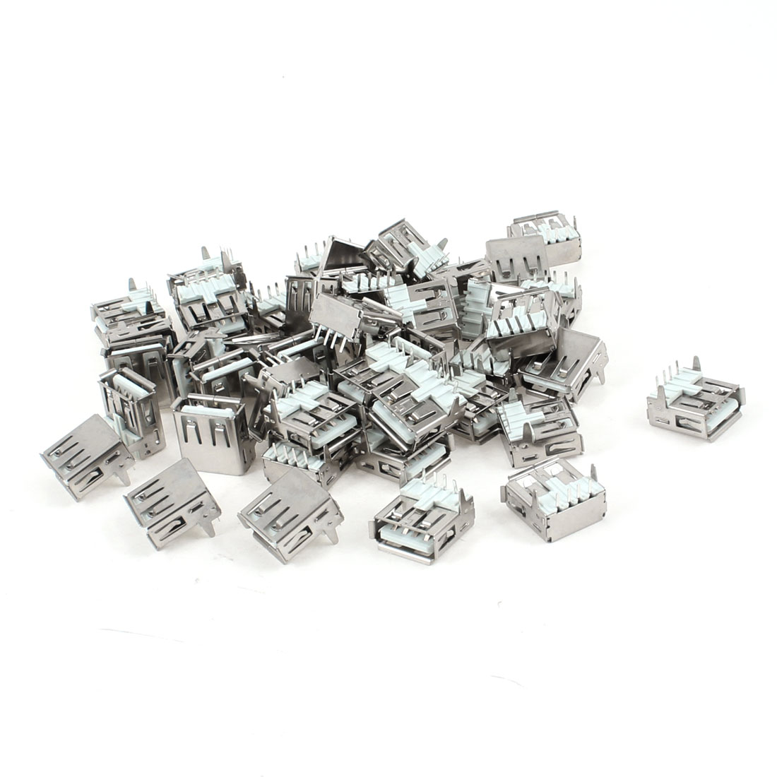 50 Pcs USB 2.0 Type A 90 Degree 4-Pin DIP Female Jack Socket Connector