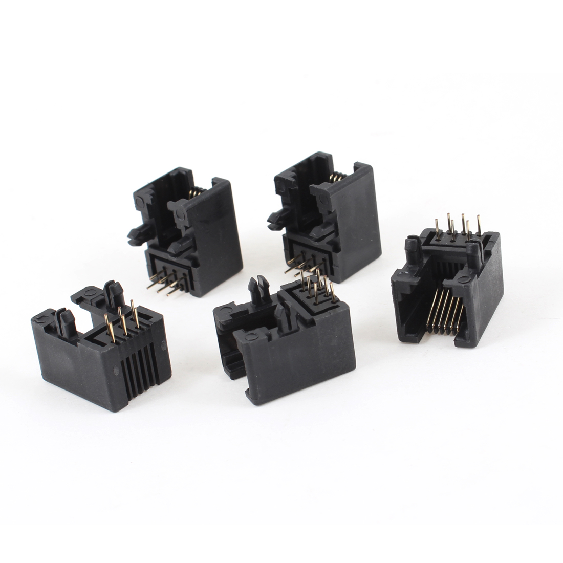 5 Pcs Black Plastic RJ12 6P6C Right Angle Network Modular PCB Connector Jacks